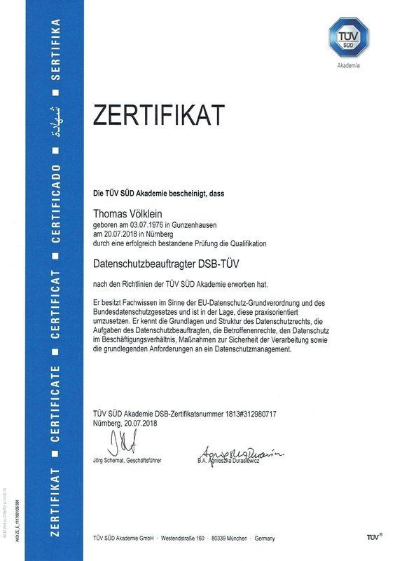 Zertifikat Datenschutzbeauftragter DSB-TÜV Thomas Völklein